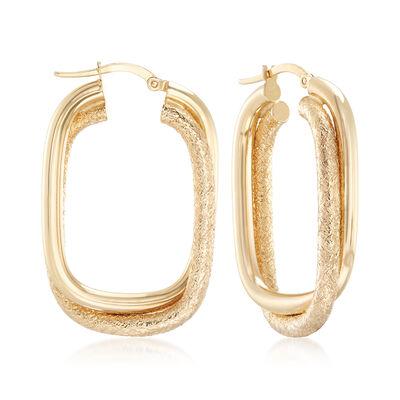 Italian 14kt Yellow Gold Rectangular Hoop Earrings, , default