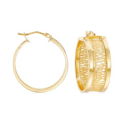 Italian Openwork Hoop Earrings in 14kt Yellow Gold, , default