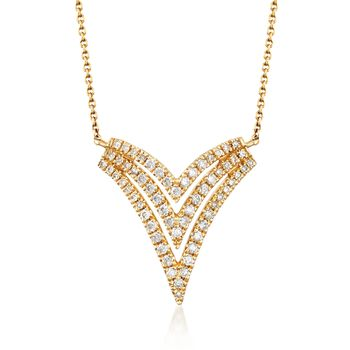 """.28 ct. t.w. Diamond Triple V Necklace in 14kt Yellow Gold. 20"""", , default"""