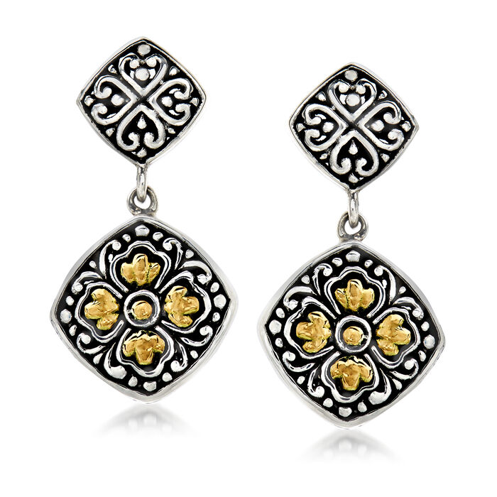 Sterling Silver and 18kt Yellow Gold Bali-Style Flower Drop Earrings