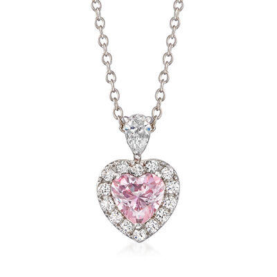 .75 Carat Swarovski Morganite CZ and .49 ct. t.w. Swarovski CZ Heart Pendant Necklace in Sterling Silver