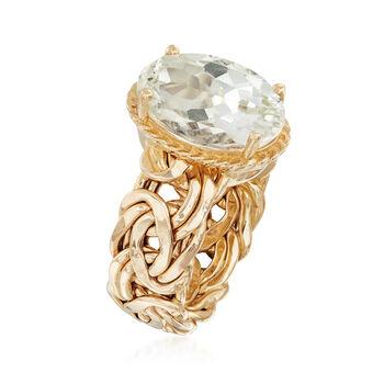 4.80 Carat Green Prasiolite Byzantine Ring in 14kt Yellow Gold