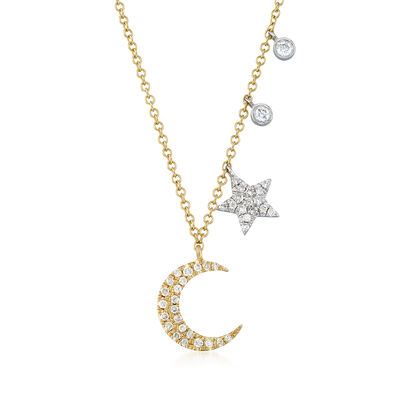.19 ct. t.w. Pave Diamond Moon and Star Necklace in 14kt Two-Tone Gold, , default