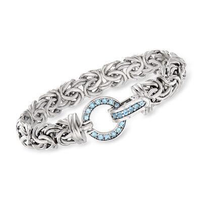 .90 ct. t.w. Sky Blue Topaz Byzantine Bracelet in Sterling Silver