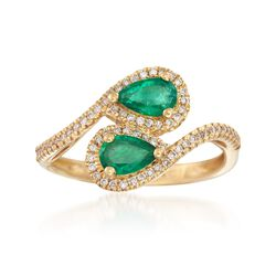 .70 ct. t.w. Emerald and .19 ct. t.w. Diamond Bypass Ring in 14kt Yellow Gold, , default