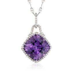 "6.75 Carat Amethyst and .30 ct. t.w. Diamond Pendant Necklace in 14kt White Gold. 18"", , default"