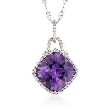 """6.75 Carat Amethyst and .30 ct. t.w. Diamond Pendant Necklace in 14kt White Gold. 18"""", , default"""