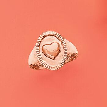 14kt Rose Gold Heart Signet Ring, , default