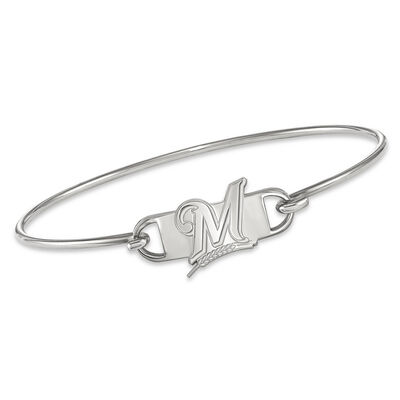 """Sterling Silver MLB Milwaukee Brewers Small Center Wire Bangle Bracelet. 7"""""""