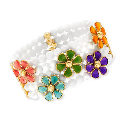 Italian 6mm White Agate Stretch Bracelet with Multicolored Enamel in 18kt Gold Over Sterling, , default