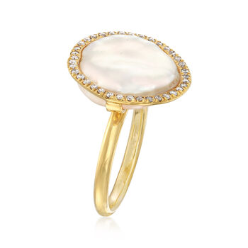 Mazza Cultured Coin Pearl and .19 ct. t.w. Diamond Ring in 14kt Yellow Gold. Size 7, , default