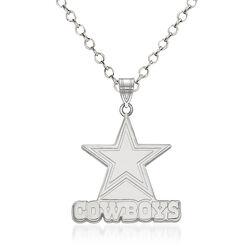 """Sterling Silver NFL Dallas Cowboys Pendant Necklace. 18"""", , default"""
