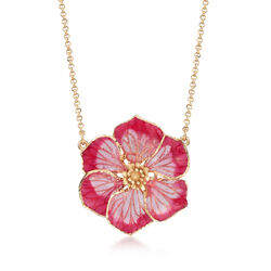 Italian Pink Enamel and 18kt Yellow Gold Flower Necklace, , default