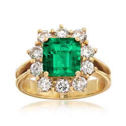 C. 1990 Vintage 2.15 Carat Emerald and 1.20 ct. t.w. Diamond Ring in 18kt Yellow Gold, , default