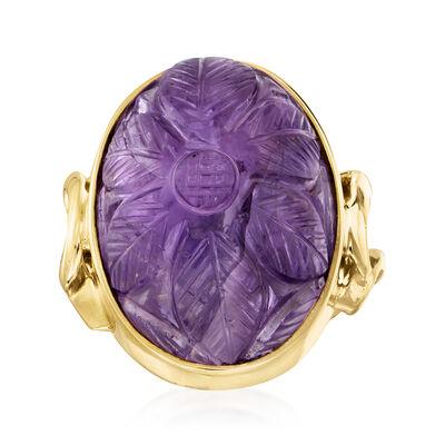 C. 1960 Vintage 18.00 Carat Amethyst Flower Ring in 14kt Yellow Gold