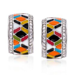 "Belle Etoile ""Forma"" .30 ct. t.w. CZ and Multicolored Enamel Hoop Earrings in Sterling Silver, , default"