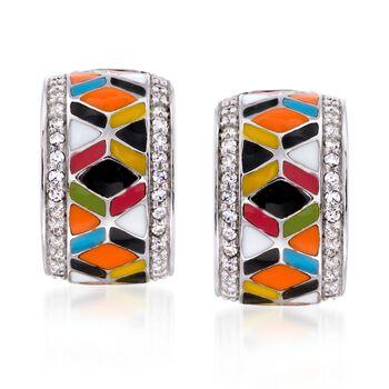 """Belle Etoile """"Forma"""" .30 ct. t.w. CZ and Multicolored Enamel Hoop Earrings in Sterling Silver. 1/2"""", , default"""