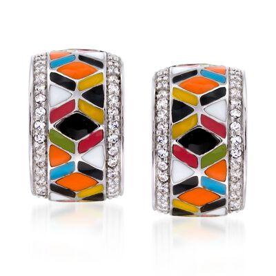 """Belle Etoile """"Forma"""" .30 ct. t.w. CZ and Multicolored Enamel Hoop Earrings in Sterling Silver, , default"""