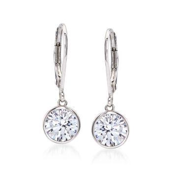 2.00 ct. t.w. Bezel-Set CZ Drop Earrings in Sterling Silver, , default