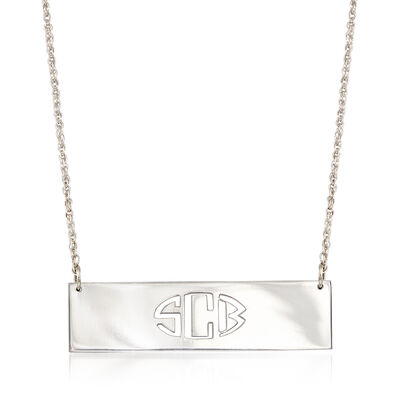 Sterling Silver Cutout Monogram Bar Necklace