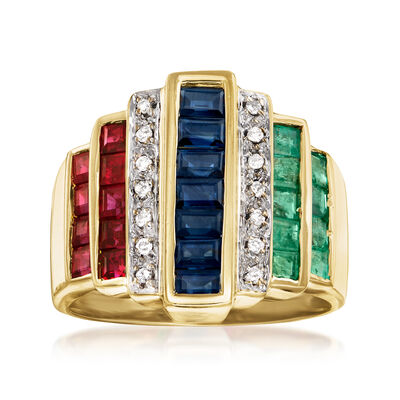 C. 1980 Vintage 3.25 ct. t.w. Multi-Gemstone Fashion Ring with Diamond Accents in 18kt Yellow Gold