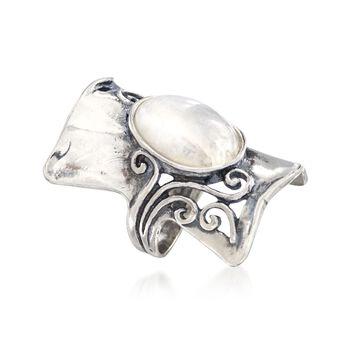 Moonstone Swirl Ring in Sterling Silver, , default