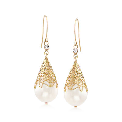 11-12mm Cultured Freshwater Pearl Drop Earrings with .10 ct. t.w. Diamonds in 14kt Yellow Gold, , default