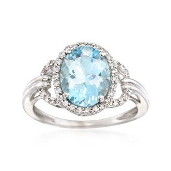 1.95 Carat Aquamarine and .18 ct. t.w. Diamond Ring in 14kt White Gold, , default