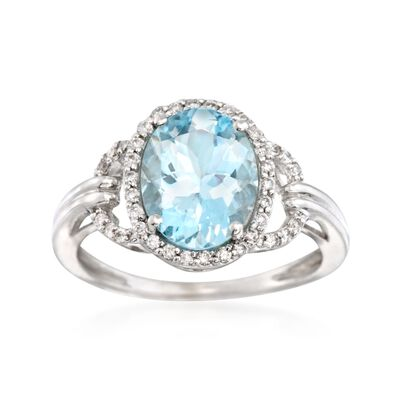 1.95 Carat Aquamarine and .18 ct. t.w. Diamond Ring in 14kt White Gold, , default
