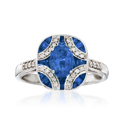 1.40 ct. t.w. Sapphire and .13 ct. t.w. Diamond Ring in 14kt White Gold, , default