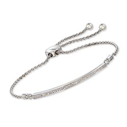 .15 ct. t.w. Diamond Bar Bolo Bracelet in Sterling Silver, , default