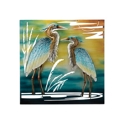 Regal Double Heron Multicolored Metal Outdoor Wall Decor, , default