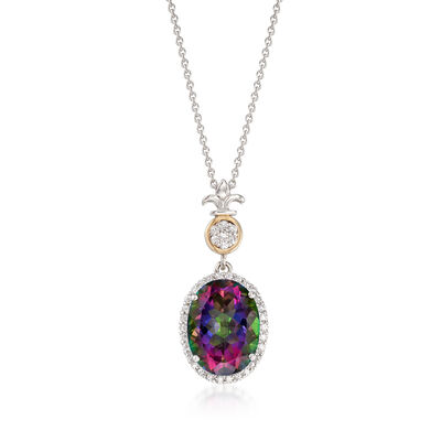 8.50 Carat Mystic Quartz and .70 ct. t.w. White Zircon Pendant Necklace in Sterling and 14kt Gold, , default