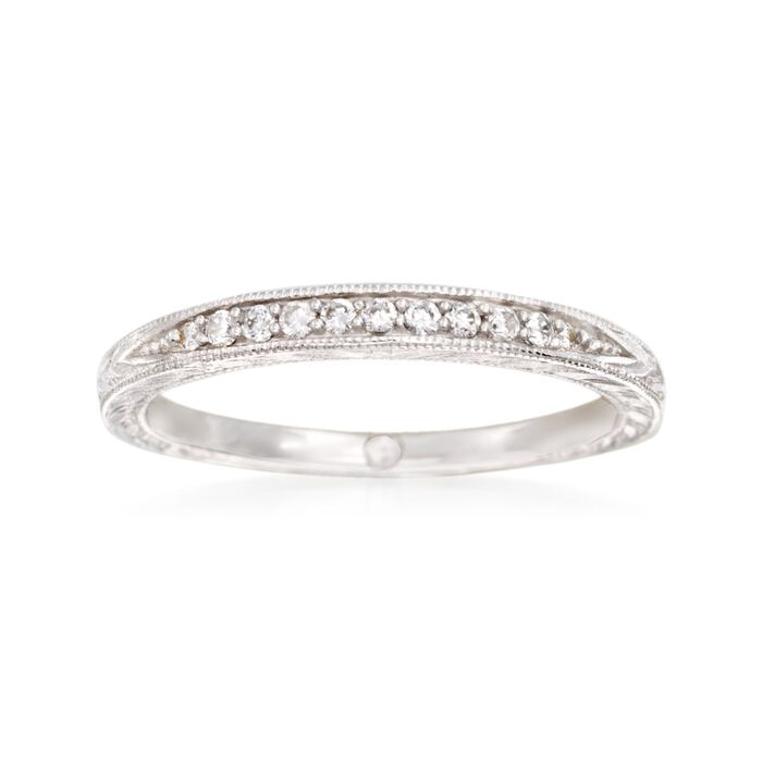 Gabriel Designs .10 ct. t.w. Diamond Wedding Band in 14kt White Gold, , default