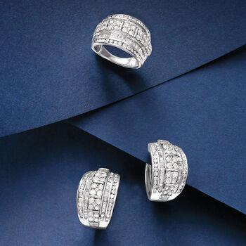 "3.00 ct. t.w. Round and Baguette Diamond Hoop Earrings in Sterling Silver. 3/4"", , default"