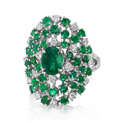 3.60 ct. t.w. Emerald and .90 ct. t.w. Diamond Cocktail Ring in 18kt White Gold
