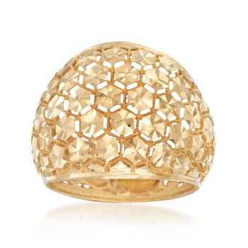 Italian Diamond-Cut 18kt Yellow Gold Dome Ring. Size 5, , default