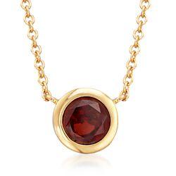 """1.10 Carat Bezel-Set Garnet Necklace in 18kt Gold Over Sterling. 16"""", , default"""