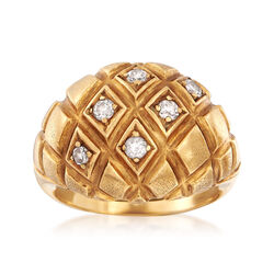 C. 1960 Vintage .30 ct. t.w. Diamond Quilted Dome Ring in 18kt Yellow Gold, , default