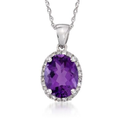 1.75 Carat Amethyst Pendant Necklace with Diamonds in 14kt White Gold, , default