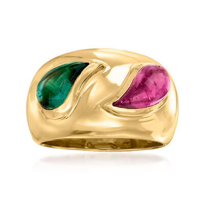 C. 1980 Vintage Chopard 3.70 ct. t.w. Green and Pink Tourmaline Ring in 18kt Yellow Gold