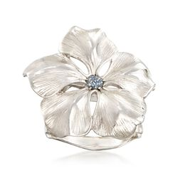 Italian Sterling Silver Flower Ring With Glitter Enamel, , default