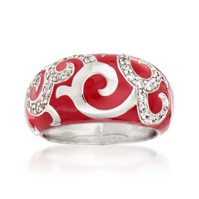 "Belle Etoile ""Royale"" Red Enamel and .20 ct. t.w. CZ Ring in Sterling Silver, , default"