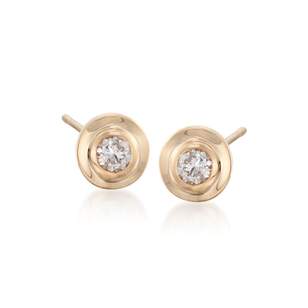 T W Diamond Bezel Set Stud Earrings In 14kt Yellow Gold