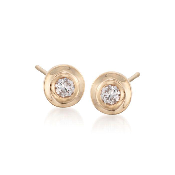 .25 ct. t.w. Diamond Bezel-Set Stud Earrings in 14kt Yellow Gold, , default