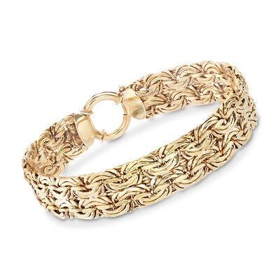 18kt Yellow Gold Over Sterling Silver Wide Byzantine Bracelet