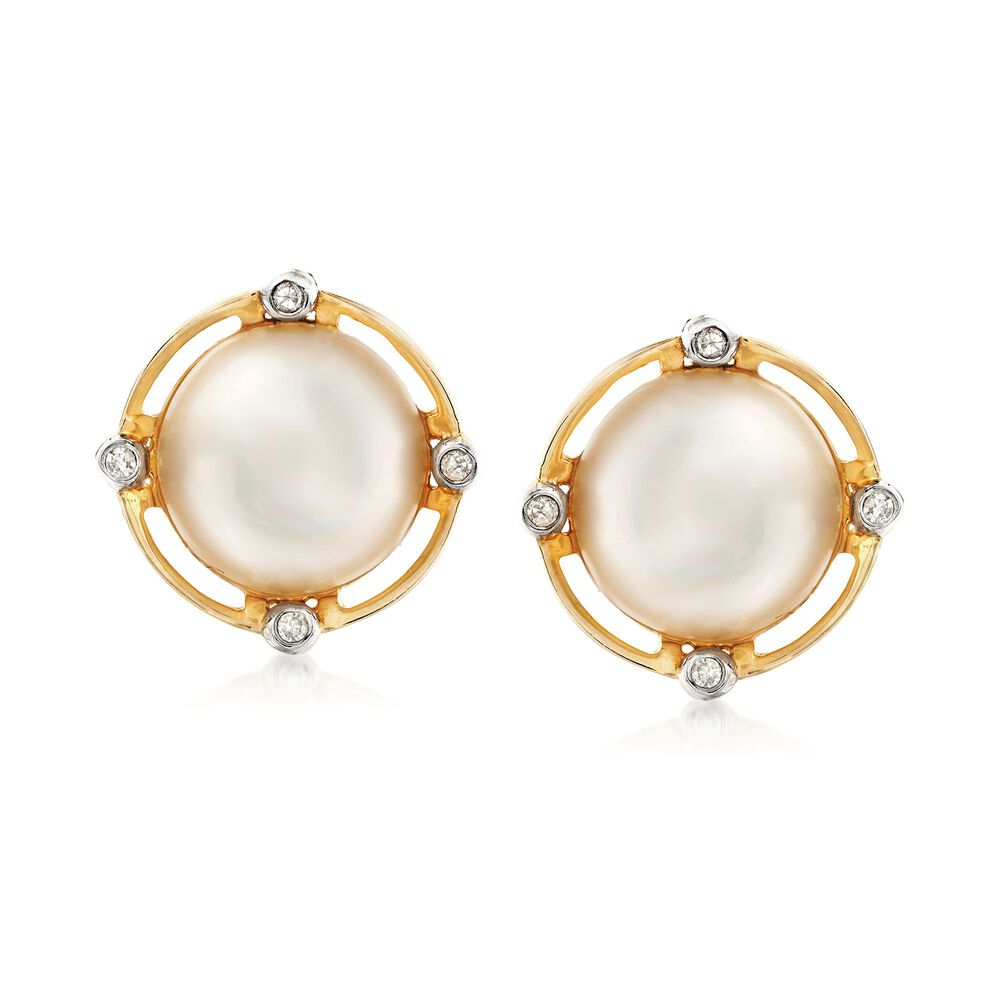 10 5 11mm Cultured Mabe Pearl Earrings With Diamond Accents In 14kt Yellow Gold