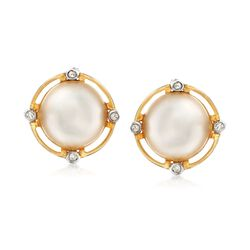 10.5-11mm Cultured Mabe Pearl Earrings With Diamond Accents in 14kt Yellow Gold, , default