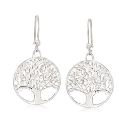 Italian Sterling Silver Diamond-Cut and Polished Tree of Life Drop Earrings, , default