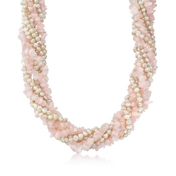 "Cultured Pearl and Rose Quartz Chip Torsade Necklace With Sterling Silver. 18"", , default"